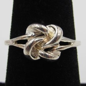 Size 7.25 Sterling Silver Rustic Knot Style Ring